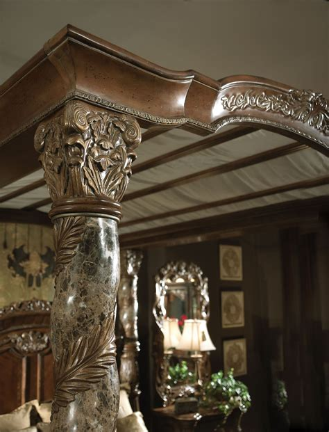 5 piece villa valencia king size canopy poster bedroom set villa valencia king poster canopy bed from aico 72000can