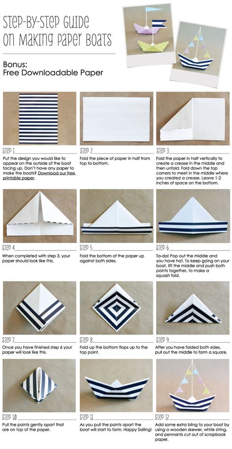 Make Paper Boats - how to make a paper boat anchor nautical ideas
