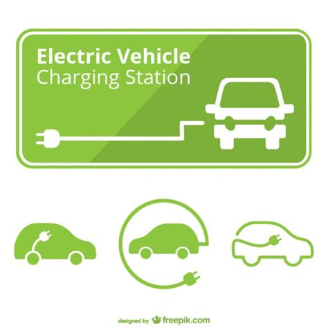 electric vehicles logo electric car charging station vector vector free vector
