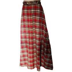 vintage 60 70s tartan plaid seersucker maxi skirt