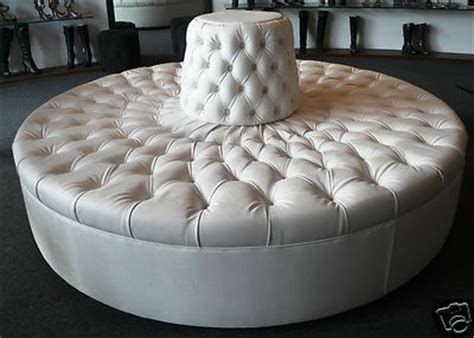 circle banquette settee lobby sofa details about extraordinary ivory tufted round sofa chair