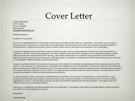cover letter for advertising agency advertising portfolio