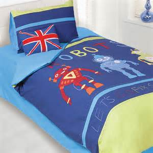 Cool Kids Bed Linen - free shipping unique kids cartoon robot bedding sets quality embroidery boy blue duvet cover