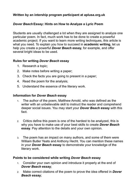 Lyrics Poem Song Essay by Calam 233 O Dover Essay Hints On How To Analyze A
