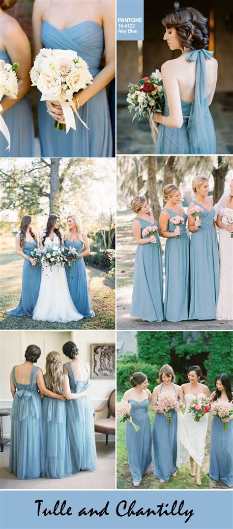 fall dress colors 20 best ideas about dusty blue bridesmaid dresses on