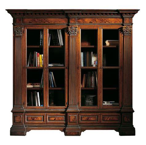 librerie con cassetti libreria in noce con 4 porte specchiature in radica e
