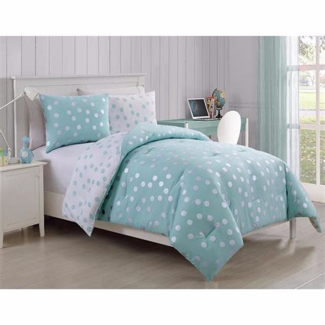 teen comforter teen girls aqua white metallic polka dot soft reversible