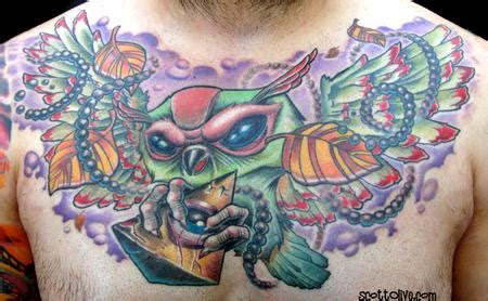 owl chest piece by scott olive tattoos