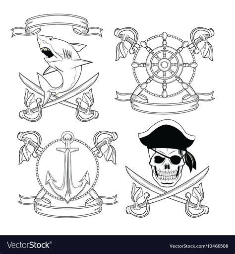 tattoo pirate cartoon cartoon pirate tattoo design vector by jemastock image