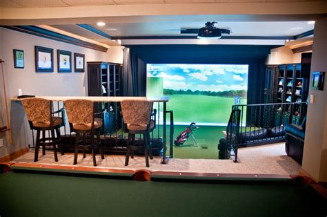 room design simulator river glen basement expansion golf simulator eclectic