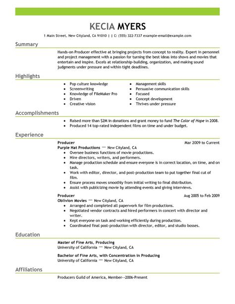 media entertainment resume exles media