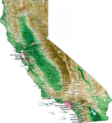 california map elevation elevation map of california map travel