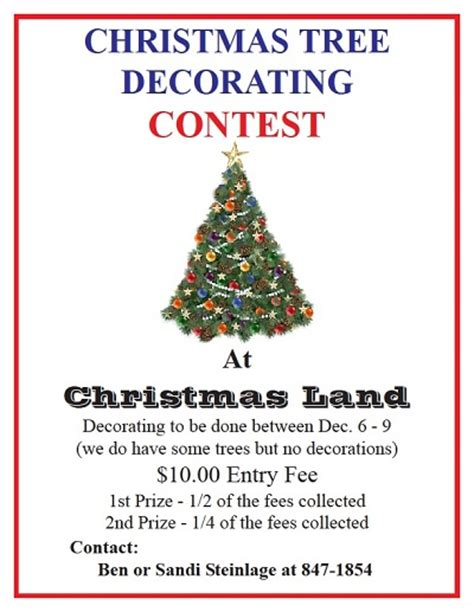 miscellaneous arts reminder tree decorating contest