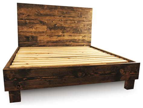 rustic queen bed frame farm style platform bed frame dark walnut queen rustic