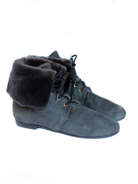 louise tapeet blue suede leather shearling flat