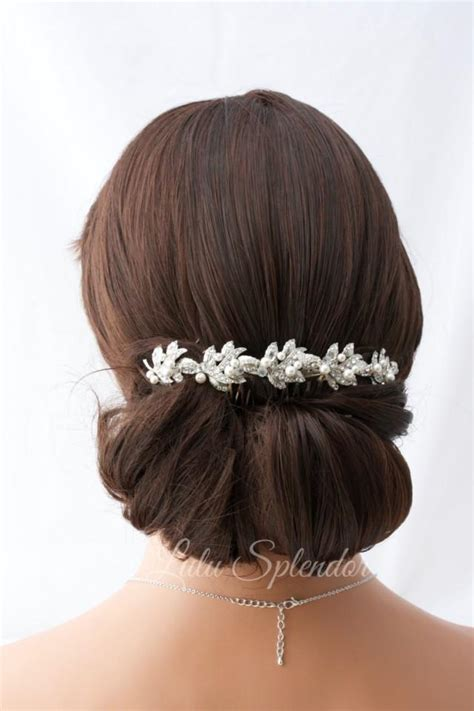 how to style the back of the comb ober bridal headpiece rhinestone hair vine bridal hair clip