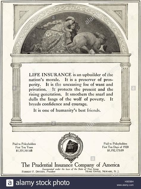 history of the prudential insurance company of america industrial insurance 1875 1900 classic reprint books 1920 advert from original vintage american magazine