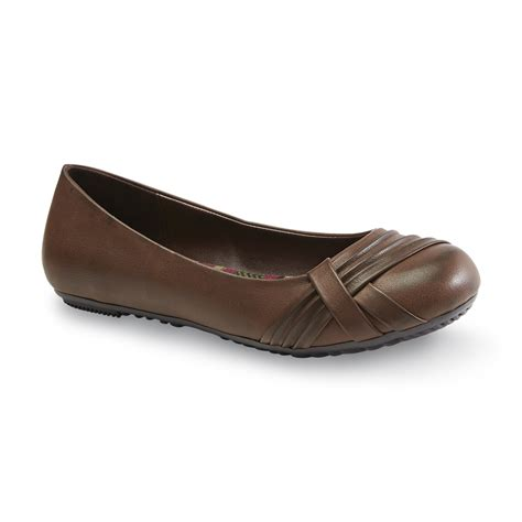 route 66 s brown pleated flat shoes
