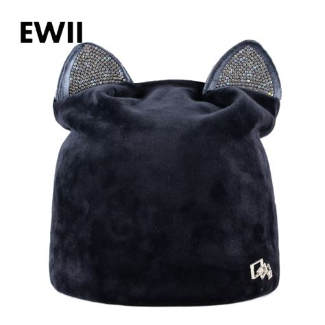 Fall Winter Accessories To Die For by Rhinestone Beanies Cap With Ears Skullies Autumn