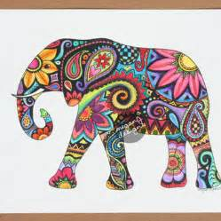 Trippy Wall Murals original watercolor ink elephant painting from meganjdesigns