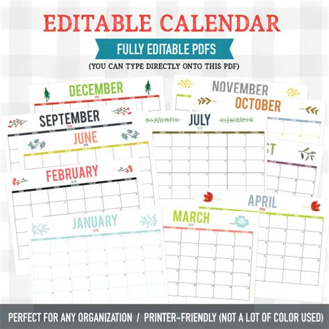 printable calendar you can type into 2018 editable calendar any organization pdf download