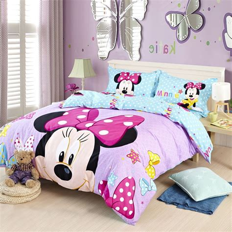 Purple Blue Stars Full And Queen Size Cotton Minnie Mouse Minnie Mouse Bedding Set