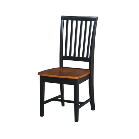 Black Wood Dining Chair International Concepts Black Cherry Wood Mission Dining Chair Set Of 2 C57 265p The Home Depot