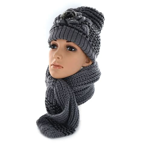 new knitted flower beanie scarf set soft