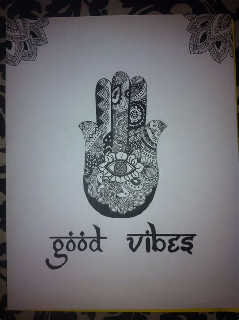good vibes tattoo vibes hamsa sharpie canvas