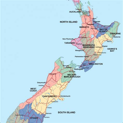 map new map new zealand political map eps illustrator map a vector