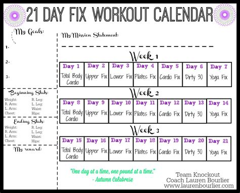 Day 0 Calendar 21 Day Fix Workout Calendar Bourlier Clean