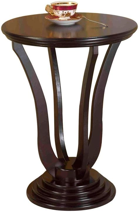 espresso accent table round end table wood vintage style accent l sofa tables