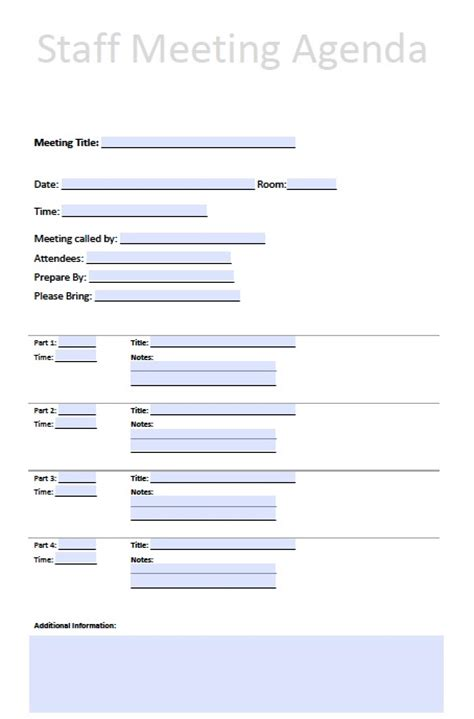 search results for staff meeting agenda template