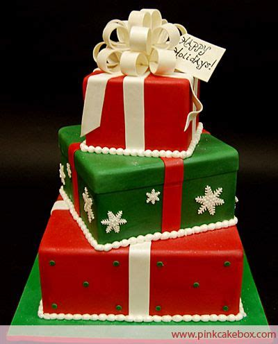 3 tier christmas gift box cake 187 celebration cakes red