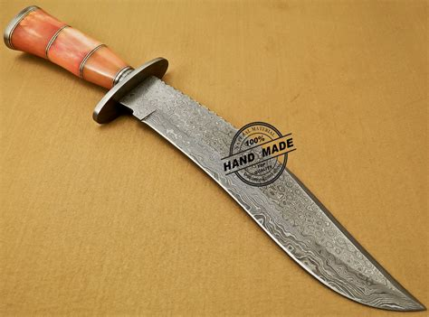 colored knives damascus bowie knife custom handmade damascus steel