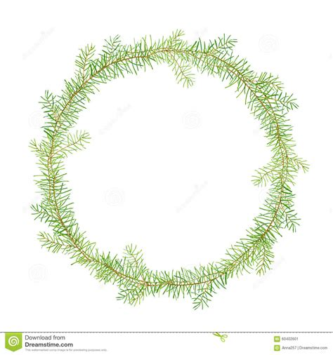 green watercolor frame pine branches stock illustration