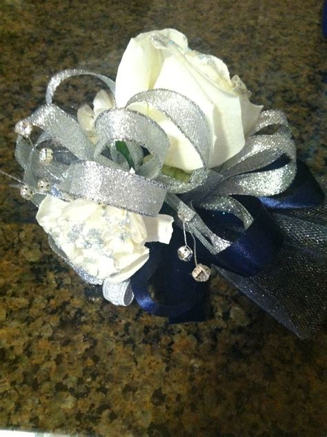 navy blue silver corsage roses with silver glitter on