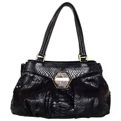 Purses For Oscar by Oscar De La Renta Black Python Shoulder Bag For Sale At