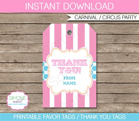 carnival party favor tag template thank you tags circus