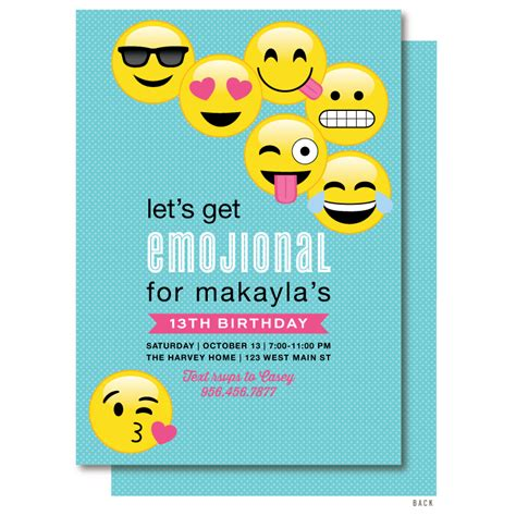 Emoji Birthday Invitation 183 Delight Paperie Emoji Birthday Invitation Template