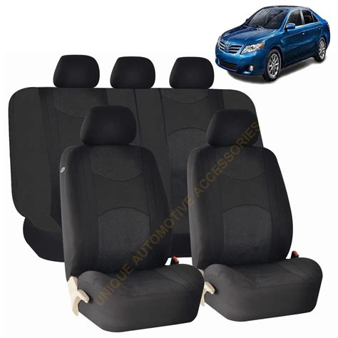 black airbag split bench seat covers 9pc set for toyota