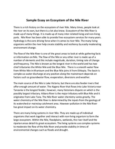 Essay About Your by Sle Essay On Ecosystem Of The Nile River