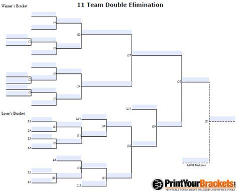 fillable 11 team double elimination editable tourney bracket