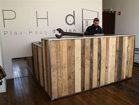 desain meja cashier reclaimed pallet wood desk with a steel top and steel
