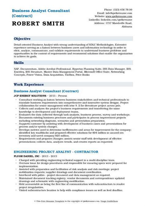 Wisconsin Mba Resume by Business Analyst Consultant Resume Sles Qwikresume