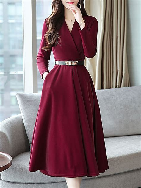 stylewe casual dresses long sleeve wrap dresses daytime