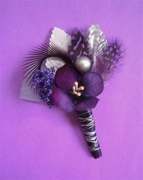 purple corsage purple and silver wedding boutonniere corsage