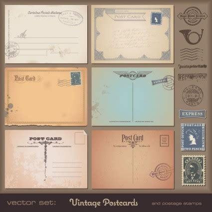 빈티지 엽서 및 우표 벡터 벡터 기타 무료 벡터 무료 다운로드 Retro Postcard Template