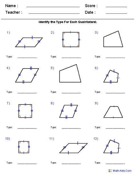 Quadrilateral Sum Of Interior Angles by Abc 123 On Geometry Multiplication Worksheets