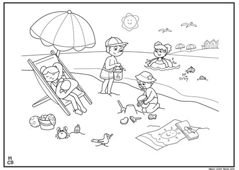 on the beach free colouring pages